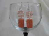 Peach Beaded Dangling Earrings