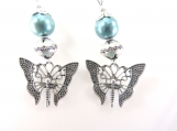 Teal butterfly earrings