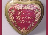 "Hand Painted ""Love Spoken Here""  Heart Shape Wood Sign"