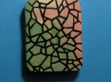 Stained Glass Look Original Hand Painted Wooden Pendant