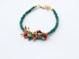 Beaded jades and rhinestones thin gold plated bracelet