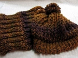Beautiful Cowl Scarf and Hat set in Browns/Purples