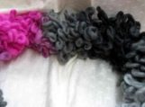 Fun Pink/Gray/Black Knitted Scarf