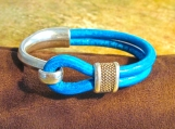 Bracelet, Antique Silver-Half Hook Turquoise Leather Bracelet
