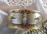 Bracelet-Dragonfly, Mixed Metal Cuff Brass Bracelet