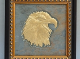 Eagle Head 4 - Engraved Grey Vintage Slate Tile PlaqueFrame
