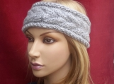 Cable Knitted headband. Ear warmer - Light Grey