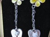 Earrings-Sterling Silver/Enameled Flower & Heart, Post style