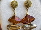 Earrings-Swarovski Crystal and Golden Pearl, with Gold Earwire