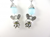 Pale blue bunny earrings