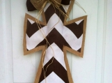 Brown Chevron and Burlap Door Hanger