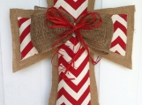 Red Chevron Burlap Door Hanger