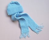 Baby Hand-Knitted Hat with Scarf (Blue)