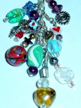 Large Chain Zipper Pull Charm OOAK  Glass Beaded Purse Back Pack Charm