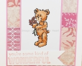 Friendship Card for Wonderful You in Pink Patchwork