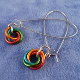 Rainbow Moebius Flower Chainmaille Earrings