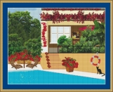 Cat By The Swimming Pool Cross Stitch Pattern