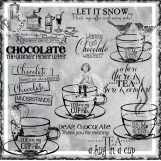 Coffee, Tea or Chocolate Digi Word art and Image Set