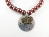 Hand stamped- mom - butterfly cocoa brace(  small)