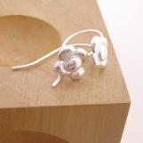 fine silver daisy drop earrings