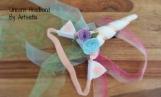 PASTEL UNICORN  w/ sheer ribbon veil, pink, blue, mint, cosplay, dressup, brony, bronies, Halloween, hair accessory, child, adult