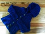 Sapphire Blue Cable cardigan, merino wool knitted sweater with hood, knit wool coat, sweater with buttons, infant, toddler, unisex