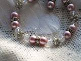 Pink pearl bracelet with crystals, AB crystals,toggle clasp