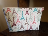 Cosmetic bag, large, makeup, travel toiletries bag, Eiffel Tower Paris