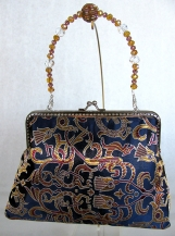 Navy Jacquard Clutch with Removable Beaded Handle