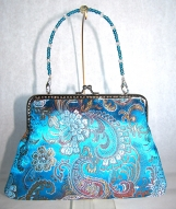 Teal Jacquard Clutch with Removable Beaded Handle
