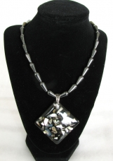 Art Glass Hematite Necklace