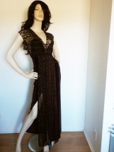 Black & Gold Lace Knit Stretch Velvet Egyptian Dress - S