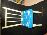 Doll Chair, Miniature, Blue, tan, with Small Metal Stars on top