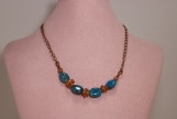 Natural and Antique Copper and Blue Bead Necklace