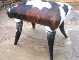 Rustic Western Cowhide Horn leg footstool Made In USA 0159