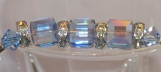 Bracelet with Silver Tubes and Swarovski Crystal Blue Cubes