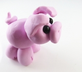 Clay pink pig  sculpture figurine