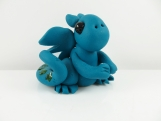Clay teal baby dragon  sculpture figurine