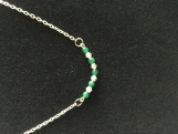 Genuiine Emerald and Sterling Silver Bar Necklace