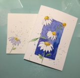 White Coneflowers on Blue Isaiah 40:31 Hand-painted Card