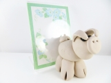 Clay pig sculpture figurine photo frame