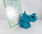 Clay teal pig sculpture figurine photo frame