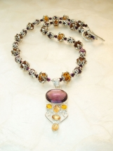 Citrine, Amethyst, Crystal, Silver Ethnic Necklace w/ Earrings