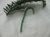 Green and Silver Candy Cane Christmas Tree Ornament