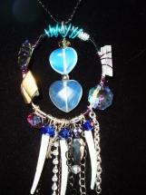 Handmade Bohemian Tribal Necklace, Opalite, Shell, Pearl Crystal