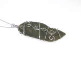 Large Stainless Steel Wire Wrapped Beach Stone Pendant Necklace