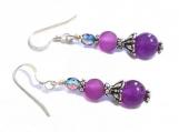 Amethyst Purple Pink Earrings, Gemstone Amethyst Earrings