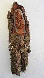 Carved Cottonwood Bark Morel with hooks