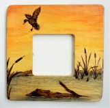 Pyrograpged Picture Frame - Duck in Sunset