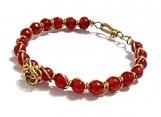 Red Jade Bracelet, Wire Wrapped Bracelet, Rose Accent Bracelet